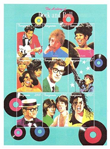 Die Geschichte des Rock and Roll große Briefmarkenbogen - Chuck Berry, Bob Dylan, Aretha Franklin, Buddy Holly, Bruce Springsteen, The Rolling Stones und mehr - 9 Superb Zustand Briefmarken für Sammle