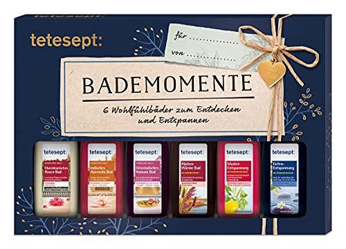 tetesept Bäder Geschenkset Bademomente – Badezusatz Probierset mit Geschenkanhänger - das ideale Präsent für jeden Anlass – 1 x Wohlfühlbäder Badeset (6 x 20 ml)