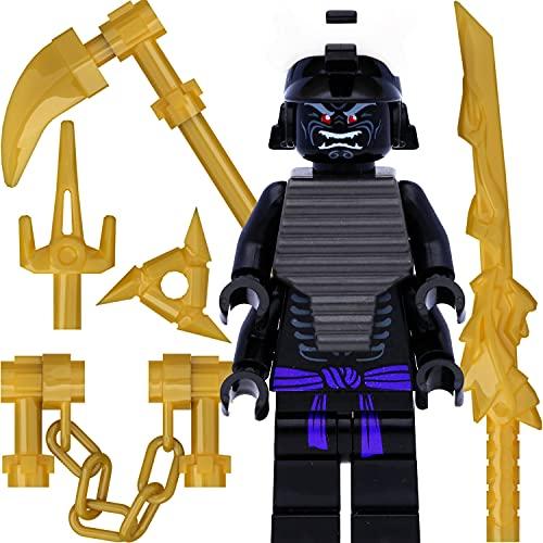LEGO Ninjago Minifigur Lord Garmadon (mit 4 Armen, Legacy) und 7 goldene Waffen