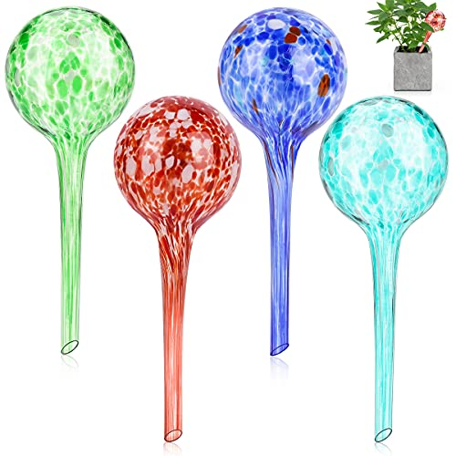 Achort Bewässerungskugeln aus Glas 4er Durstkugeln Gießfrei-Bewässerungs-Kugeln Pflanzen Bewässerungstropfen 6x15cm