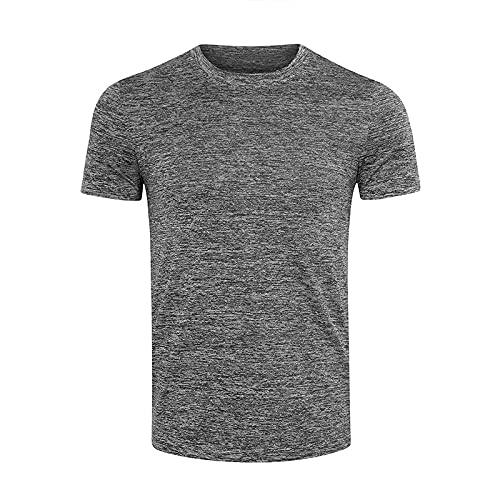 CFWL Herren Kurzarm T-Shirts Sommer Slim Einfarbig Sport Schnell Trocknende Kleidung Outdoor Laufen Schweiß Grau M