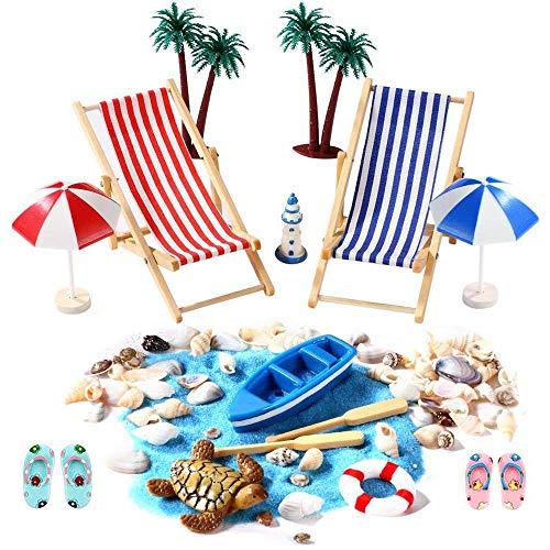 IWILCS 18 Stück Strand-Mikrolandschaft,Miniatur Dekoration Mini-Stranddekorationen,Miniatur Dekoration,für DIY Fee, Garten, Puppenhausdekoration Geburtstagsgeschenk, Miniliegestuhl