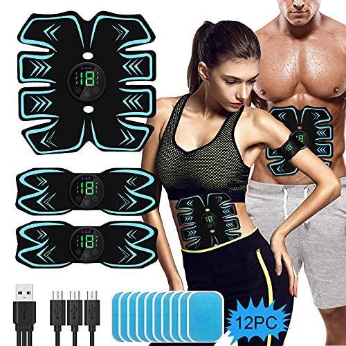 PiAEK EMS Muskelstimulator Trainingsgerät, Bauchmuskeltrainer Elektrostimulation Muskelstimulation USB Wiederaufladbar für Damen Herren
