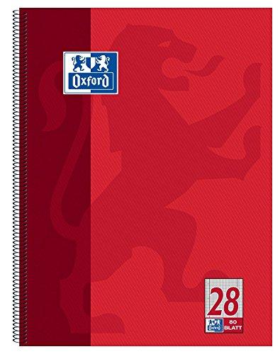 Oxford Schule 100050361 Collegeblock A4, kariert, 80 Blatt, gelocht, rot, 1 Stück