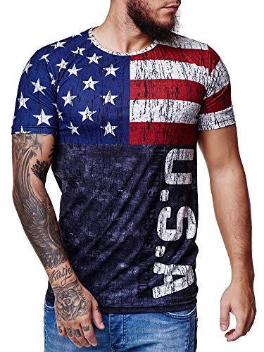 OneRedox Herren Länder T-Shirt Kurzarm Rundhals Fußball USA 1513 L