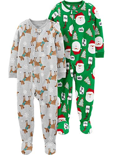 Simple Joys by Carter's 2-Pack Fleece Footed Sleep Play infant-and-toddler-sleepers, Blue Sloth/Heather Grey Santa, 4T