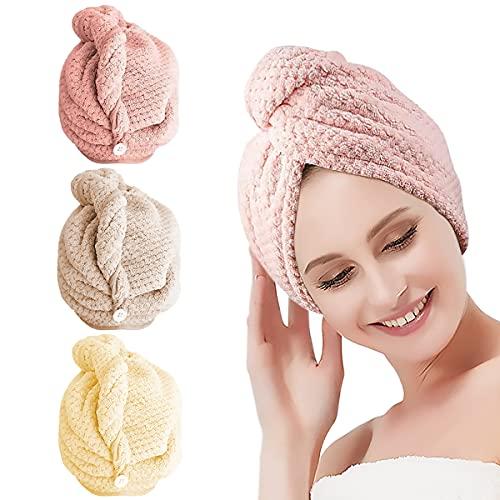 Haarturban, 3 Stück Schnelltrocknend Haarhandtuch für Frauen, Turban Handtuch mit Knopf, Microfaser Handtuch Superabsorbierender Schnell Trocknender Haarturban, Haar Handtuch für Alle Haartypen