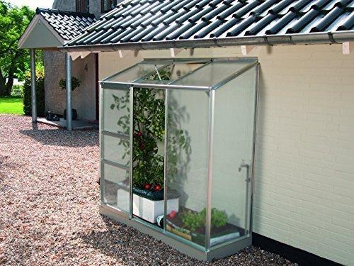 Gartenwelt Riegelsberger Anlehngewächshaus Ida - Ausführung: 1300 HKP 4 mm Alu, Fläche: ca. 1,3 m², mit 1 Dachfenster, Sockelmaß: 0,65 x 1,92 m