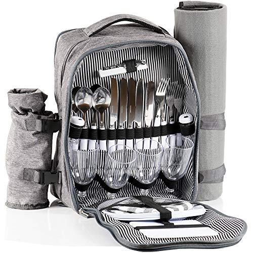 CampFeuer Picknickrucksack für 4 Personen (Grau) | Picknickset 32-teilig | inkl. Flaschenhalter und Fleece Decke, großem Kühlfach, Geschirr und Besteck