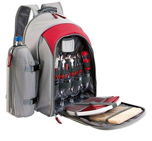 Picknick-Rucksack mit Picknick-Geschirr 4 Personen Viele Fächer Isolierfach Lunchtasche Besteck (Ausflugstasche, Picknick, Camping-Tasche, Abnehmbarer Flaschenhalter, Rot Grau)