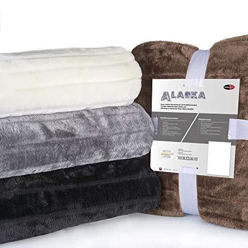 CelinaTex Alaska XXL-Kuscheldecke 200 x 240 cm Natur Polar Fleece Sofadecke Felloptik Tagesdecke Fellimitat Wohndecke