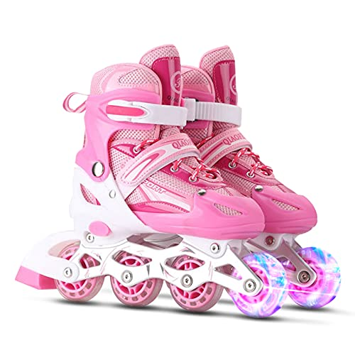 Lixada Einstellbare beleuchtende Inline-Skates mit leuchtenden Rädern für Kinder und Erwachsene für Mädchen und Jungen, Männer und Frauen,Größe 27-32/33-37/38-41