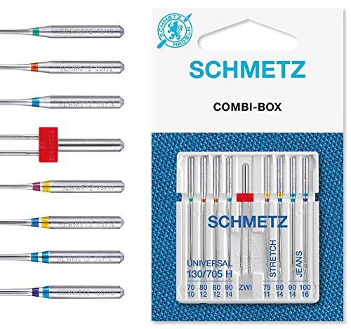 SCHMETZ Nähmaschinennadeln Set 4 Universal Nadeln   2 Stretch Nadeln   2 Jeans Nadeln   1 Zwillings-Universal-Nadel   geeignet für alle gängige Haushalts-Nähmaschinen