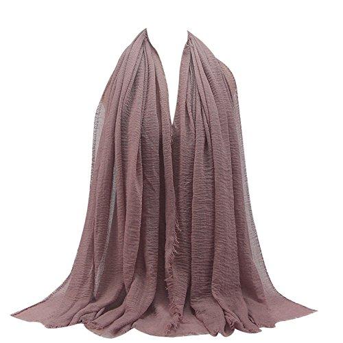UJUNAOR Baumwolle Leinen Schal Muslim Solide Damen Islamischen Hanfstoff Kopftuch Kopfbedeckungen 180 * 90CM(F,One size)(F 2,One size)