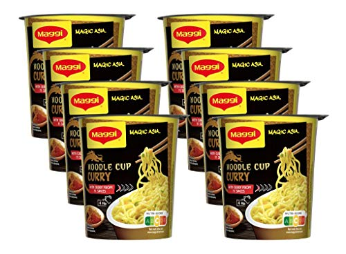 Maggi Magic Asia Curry Noodle Cup, leckeres Fertiggericht, Instant-Nudeln, aromatisch-pikant, mit Gemüse verfeinert, 8er Pack (8 x 63g)