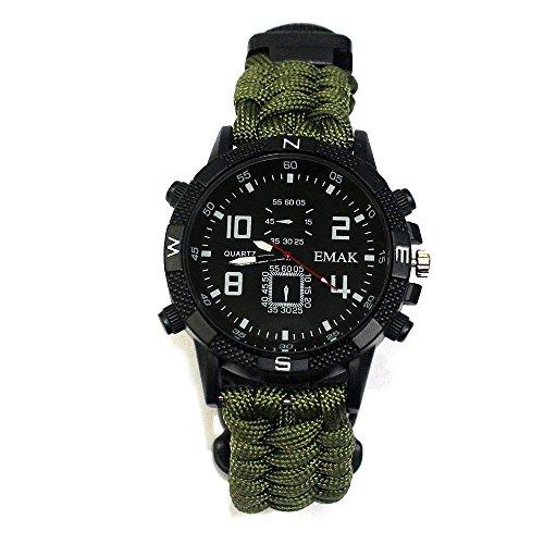 LABFS Outdoor Paracord Survival Survival Armbanduhr Mit Kompass Thermometer Taschenlampe Infrarot-Laserlicht Für Reisen Camping Notfall,F