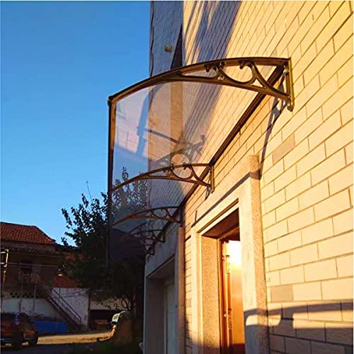 YUMEIGE Fenstertür Markise, Aluminium Fenster Tür Überdachung, Regenschutz Überdachung, Fenstermarkise Tür Überdachung, Braun (Color : Brown, Size : 60×100cm W×L)