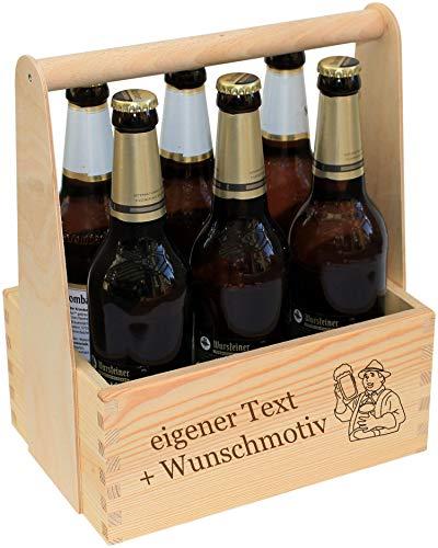 Männerhandtasche Bier personalisiert - Bierträger aus Holz mit Gravur - Name Spruch Motiv - Männergeschenk zum Geburtstag, Vatertag, Grillen - Flaschenkorb als Geschenk