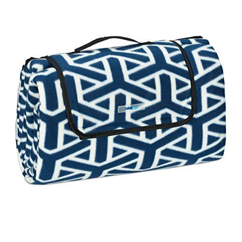 Relaxdays XXL Picknickdecke, 200x200 cm, Fleece Stranddecke, wärmeisoliert, wasserdicht, mit Tragegriff, dunkelblau/weiß