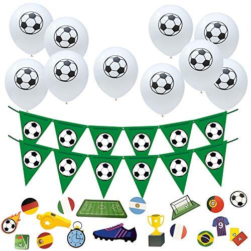 Oblique Unique® Fußball Party Deko Set mit 10 Ballons + 1x Wimpel Girlande + 18x Konfetti für Geburtstag Jungen WM Weltmeisterschaft Mottoparty