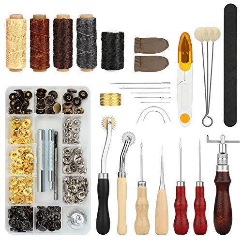 Fixm Ledernähwerkzeuge, 28er Set DIY-Lederhandwerkzeuge mit Ahle, Steppnadel, Wachsfaden, Fingerhut & weiterem Zubehör, perfektes Handnähwerkzeug-Set für Teppiche, Mäntel & Zelte.