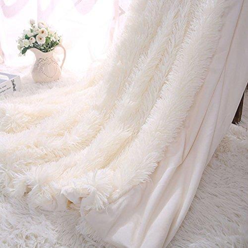 TIDWIACE Kuscheldecke Longhair Fell Optik Sofa Decke Microfaser Kunstfell TV-Decke Tages Klimaanlage Decke (Weiß, 130 X 160 cm)