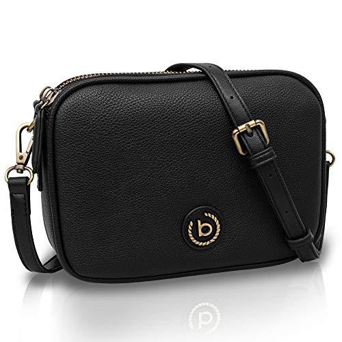 Bugatti Passione Handtasche Damen Klein - Kunstleder Tasche, Umhängetasche Damen Klein (Schwarz)