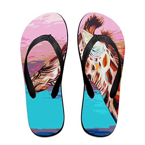Giraffe Malerei Unisex Erwachsene Lässig Flip-Flops Sandale Pool Party Hausschuhe Badezimmer Wohnungen Open Toed Slide Schuhe S