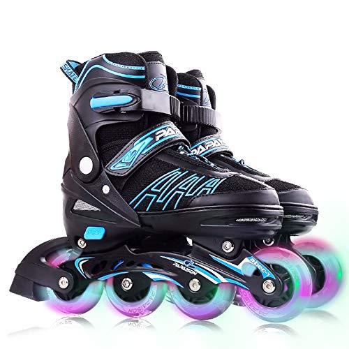 VOMI Verstellbar Inline-Skates mit 8 Blinkende Räder Kinder/Erwachsene Sporting Inline Schuhe Einstellbare 4 Größe Inlineskates Aluminiumlegierung Halterung ABEC-7 Stumm Lager (Maximum 41-44,Blue)