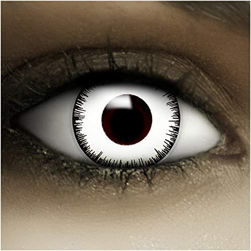 Farbige Kontaktlinsen ohne Stärke Vampir + Kunstblut Kapseln + Kontaktlinsenbehälter, weich ohne Sehstaerke in weiß und schwarz, 1 Paar Linsen (2 Stück)