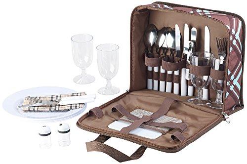 Xcase Picknicktasche: 30-teiliges Picknick-Set für 4 Personen, inkl. Tasche, Teller, Gläser (Picknick Koffer)