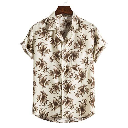 Herren Country Shirts Ideal zum Angeln Shooting Jagd, Sommer Europäische und amerikanische Casual Slim Printed Kurzarmhemd L