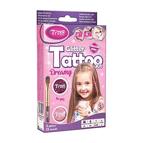 Tytoo Glitzertattoo Set für Mädchen mit 15 Schablonen- hypoallergen und hält bis zu 18 Tage - 100% Geld-zurück-Garantie