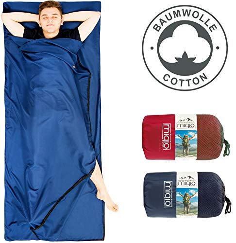 Miqio® 2in1 Baumwoll-Hüttenschlafsack mit durchgängigem Reißverschluss (Koppelbar): Leichter Komfort Reiseschlafsack und XL Reisedecke in Einem - Sommer Schlafsack Innenschlafsack (Blau,Links)