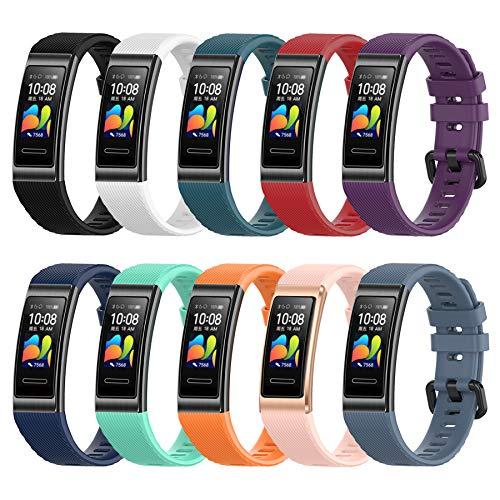 MIJOBS 10-teilige Armbänder für Huawei Band 4 Pro / Band 3 Pro / Band 3 Ersatzriemen Atmungsaktive und Weiche Sportarmbänder mit Silikonbändern Kompatibel mit Huawei Band 3/3Pro/4Pro