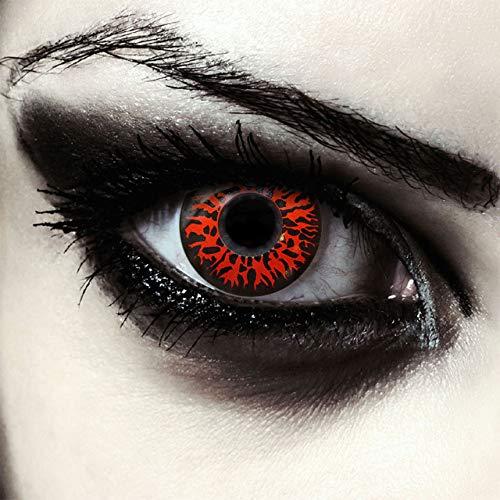 Rote farbige Vampir Hexen Dämonen Kontaktlinsen ohne Stärke für Halloween Kostüm, 2 Stück, Designlenses, Model: Red Fear rote Farblinsen
