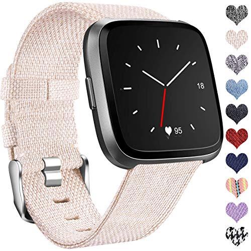 Ouwegaga Kompatibel mit Fitbit Versa Armband/Fitbit Versa 2 Armband, Woven Ersetzerband Verstellbares Zubehör Uhrenarmband Kompatibel mit Fitbit Versa/Versa Lite, Klein Beige