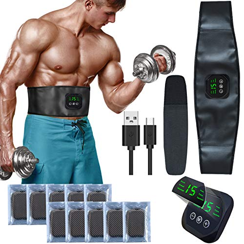 zociko EMS Trainingsgerät, ABS Elektrostimulation Muskelstimulation EMS Bauchtraining Professional Bauch Muskel ABS Muskelstimulator Belt Herren Damen 10 PCS Gel PAD USB-Aufladung