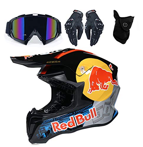 Männer Motocross Helm, Enduro MTB Helm Fullface Fahrrad Helm Cross Helm Motorradhelm Für Downhill Bike ATV BMX mit Brille Handschuhen Maske für Sicherheitsschutz Red Bull