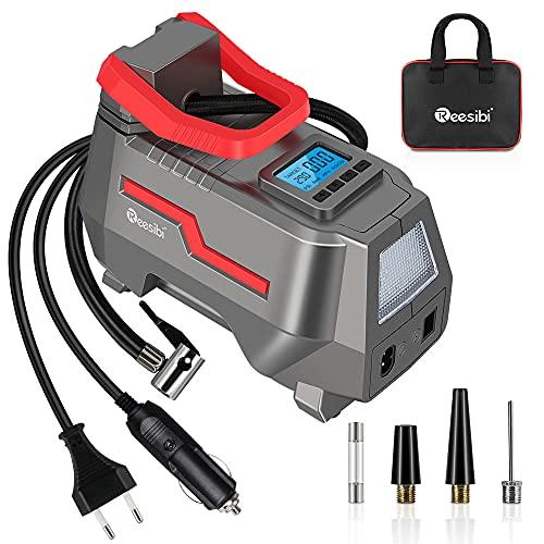 Reesibi 12V 230V Kompressor Luftpumpe 150PSI Dual Power AC/DC, Luftkompressor Reifenpumpe für Fahrrad Auto, Elektrische Luftpumpe Digital zum Aufpumpen von Reifen, Luftmatratzen, Bällen, Rot/Silber
