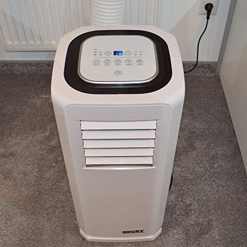 Mobile HECHT Klimaanlage mit 8 Funktionen (NEU) – Kühlen, Lüften, Entfeuchten – lokales Klimagerät – leise – mit Fernbedienung, Abluftschlauch und Fensterabdichtungs-Set – Klimaanlage mobil