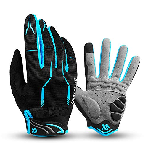 I Kua Fly Vollfinger Fahrradhandschuhe Männer Touchscreen Kompatibel MTB Handschuhe mit Gel für Herren Damen (Blau, XL)