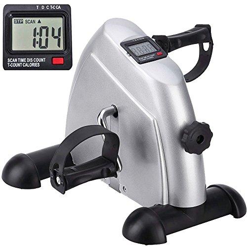 Minibike Heimtrainer Bewegungstrainer Pedaltrainer Trainingsgerät Fitnessgerät mit LCD-Monitor Einstellbarer Widerstand Fahrradtrainer Fitness-Fahrrad für Arm-und Beintrainer Zuhause Büro(Silber)