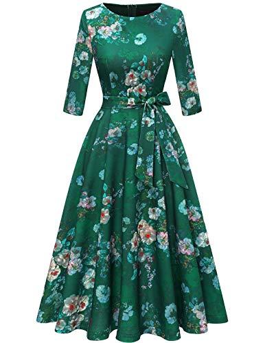 DRESSTELLS Damen Cocktailkleid 3/4 Arm Rundauschnitt Rockabilly Kleid Knielang Vintage Retro Kleider Faltenrock Green Flower S
