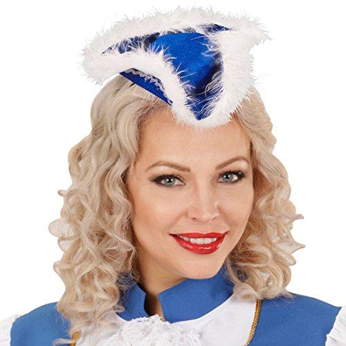 Amakando Funkenmarie Minihut Garde - blau - Funkenmariechen Fascinator Piratin Haarreif Gardehut Tanzmariechen Kostüm Accessoire Damen Mini Dreispitz Hut