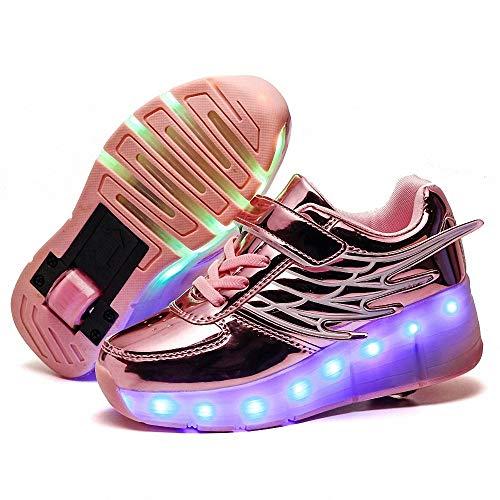 FZ FUTURE Kinder Schuhe mit Rollen, LED Rollschuhe mit Räder, Kinder Leuchtend Rollenschuhe, Flügel-Art Sneaker, 1 Räder für Kinder Mädchen Junge Erwachsene,Rosa,34
