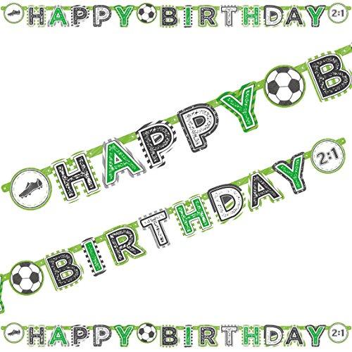 2m Happy-Birthday-Partykette * Fussball-Stadion * als Deko für WM 2018-Party oder Kindergeburtstag // EM Party Mottoparty Geburtstag Soccer Letter Banner