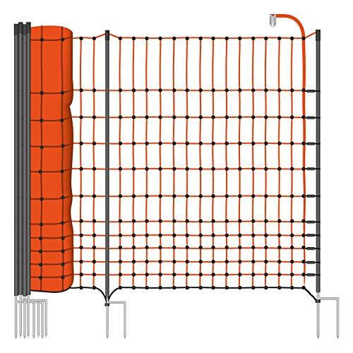 VOSS.farming 50 m Premium Hühnerzaun, Geflügelzaun/-Netz, 112 cm, 20 Pfähle, 2 Spitzen Classic