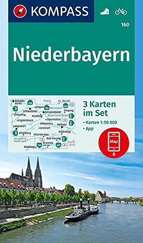 KOMPASS Wanderkarte Niederbayern: 3 Wanderkarten 1:50000 im Set inklusive Karte zur offline Verwendung in der KOMPASS-App. Fahrradfahren.