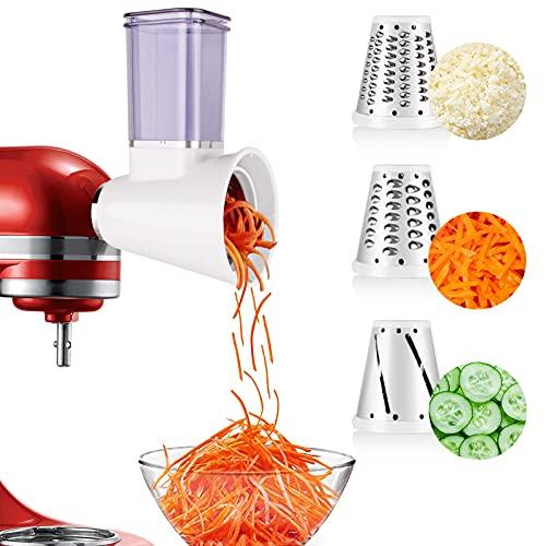 aikeec Aktualisierung Gemüseschneider für die Küchenmaschine für Kitchen Aid, Aufsatz für Fresh Prep Slicer/Shredder (Zubehör für Kitchen Aid-Standmixer) + 3 Schnellwechselklingen